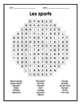 French Sports Word Search Puzzle - Mots cachés français sur les sports