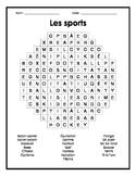 French Sports Word Search Puzzle - Mots cachés français su