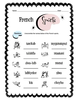 French Sports Worksheet Packet