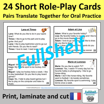 French Sports and Hobbies Speaking Activity Role Play