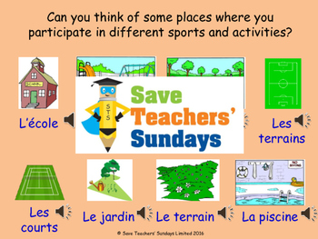 French Sports - days and venues Lesson plan, PowerPoint (with audio) & More ...