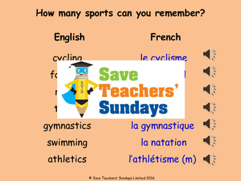 French Sports (using c'est) Lesson plan, PowerPoint (with audio) and More ...