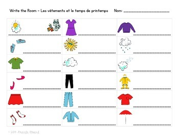 French Spring Clothing Write the Room Activity