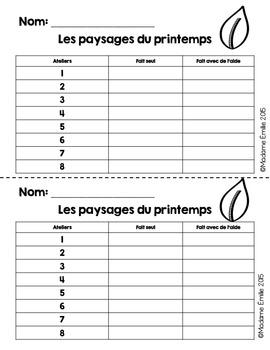 French Spring Math Center/ Paysages du printemps {Préscolaire}