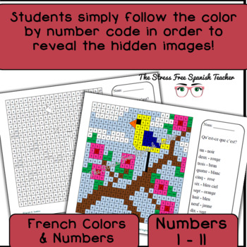 French Color By Number Mystery Pictures! Grids for Spring