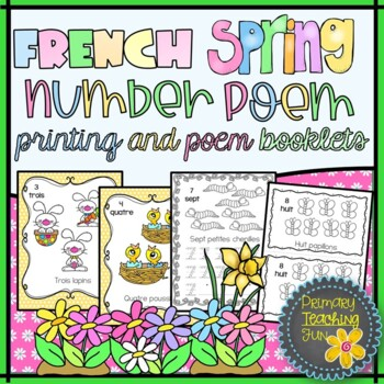 French Spring Printing and Counting Poem, Cute booklets in colour and b&w