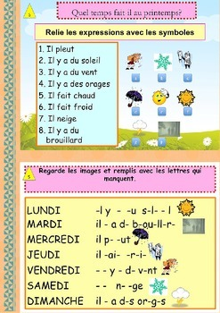 French Spring booklet, le printemps (weather, activities) beginners NO PREP