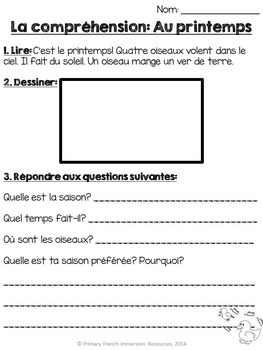 French - Spring reading comprehension sheets by Primary French Immersion