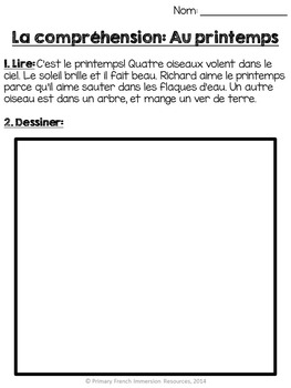 French - Spring reading comprehension sheets