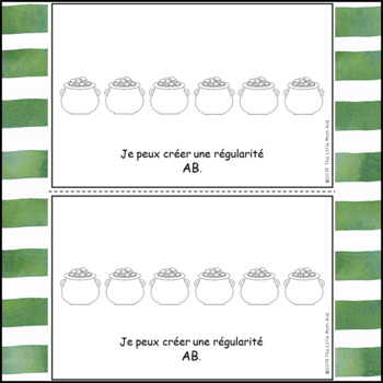 French St. Patrick's Day Patterning Activity: Les Régularités de la St-Patrick