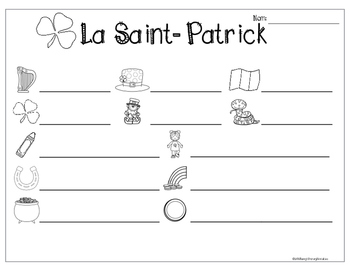 French St.Patrick's Day Write the Room