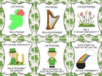 """French St. Patrick's Day """"J'ai Qui a ?"""" Class Game (Le jour de la Saint-Patrick)"""