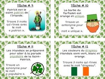 French St-Patrick's Day Task Cards - La fête de la Saint-Patrick