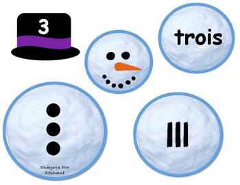French Subitizing Snowmen