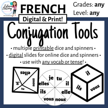 Subject Pronoun Dice & Spinner for Verb Conjugation Practice and Games - French