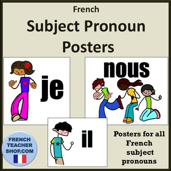 french subject pronoun posters by spanishplans tpt. Black Bedroom Furniture Sets. Home Design Ideas