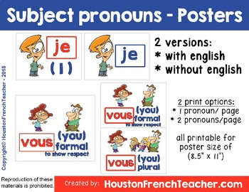 Subject Pronouns in French - Posters & Video
