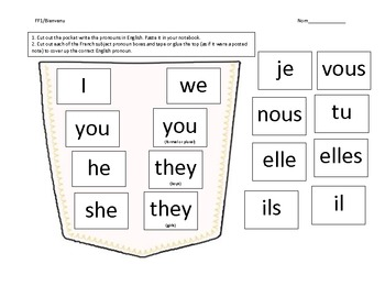 french subject pronouns activity by lise bienvenu tpt. Black Bedroom Furniture Sets. Home Design Ideas