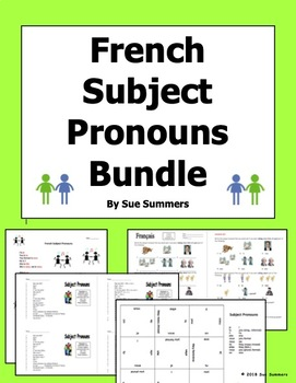 French Subject Pronouns Bundle - Song, Puzzle, Skit / Role Play, and Worksheet