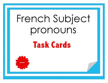 French Subject Pronouns Task Cards