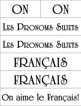 French Subject Pronouns Word Wall