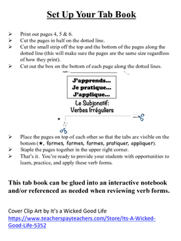French Subjunctive (Irregular Verbs) Tab Book