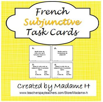 French Subjunctive Task Cards