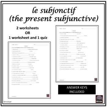 french subjunctive le subjonctif pr sent worksheets by mrslryan. Black Bedroom Furniture Sets. Home Design Ideas