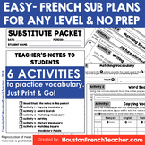 French Substitute Plan/Sub Plans - Easy Print&Go with 6 ac