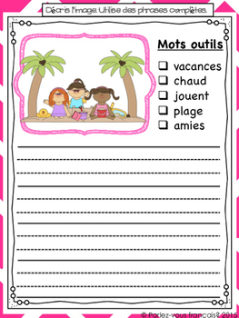 French Summer Activities- été writing centre activities