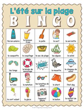French Summer BINGO Game - French Summer Vocabulary