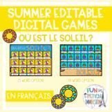 French Summer EDITABLE Virtual Game - Où est le soleil?