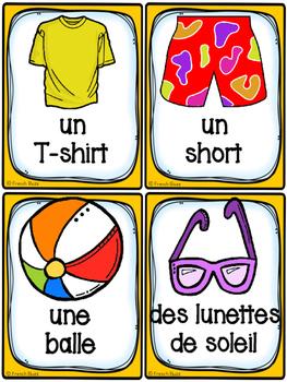 French Summer (été) - Cartes de vocabulaire