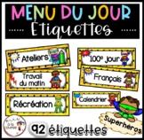 French Superhero Schedule Cards / Menu-Horaire du jour Superhéros