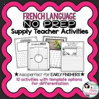 FRENCH No Prep Supply Teacher Activities /Trousse de suppléance