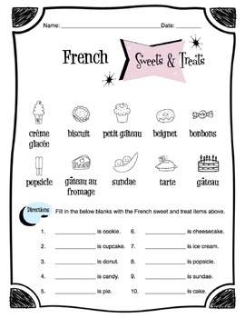French Sweets & Treats Worksheet Packet