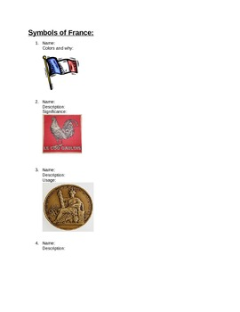 French--Symbols of France Handout