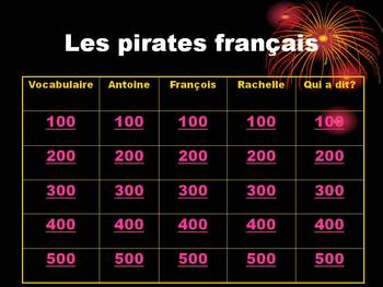 French TPRS - Pirates Novel Jeopardy Review Game