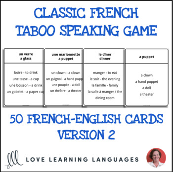 French Taboo Game, Version 2 - Jeu de Tabou en Français