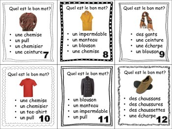 French Clothing Task Cards, Vocabulary