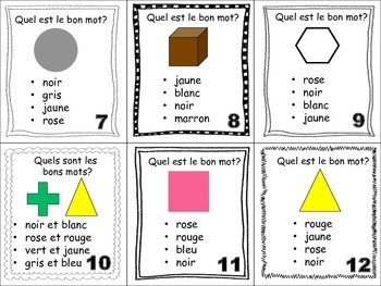 French Colors Task Cards, Vocabulary