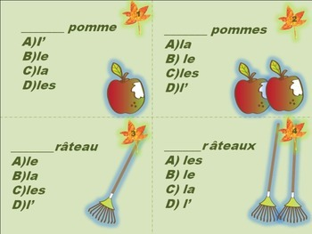 French: Task Cards Definite Articles