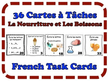 French Food and Drinks Task Cards, Vocabulary
