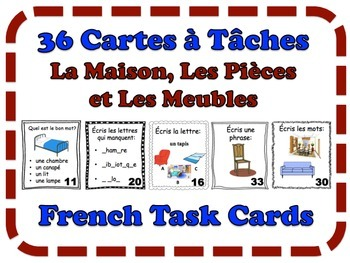 French House, Rooms and Furniture Task Cards, Vocabulary