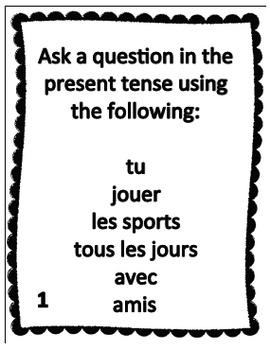 French Task Cards:  JOUER À vs JOUER DE - Cartes à Tâches