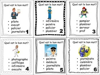 French Jobs and Professions Task Cards, Vocabulary