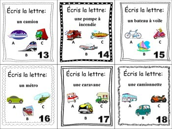 French Transportation and Vehicles Task Cards, Vocabulary