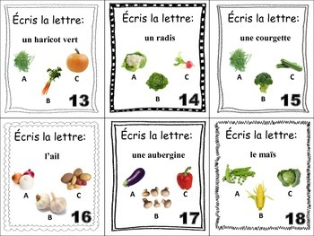 French Vegetables Task Cards, Vocabulary