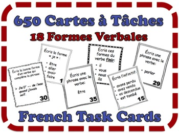French Task Cards: Verb Forms (18 Sets, 650 Cards)