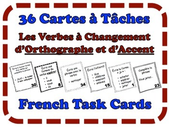 French Accent & Spelling - Change Verbs Task Cards